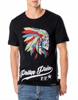 Wholesale 2017 New Summer men T shirt short sleeve Fashion PP T shirts D printing skull drilling Tshirt High quality cotton male Tops Tees