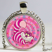 alice hearts - Alice in Wonderland Cute Pink Cheshire Cat Mens chain Handmade New brass Necklace silver Pendant steampunk Jewelry Gift women