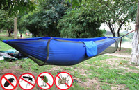 1-person backyard tents - TOMTU Portable Mosquito Net Camping Hammock Ultralight Comfort Widened Parachute Fabric Bed for Travel Outdoors Backpacking and Backyard