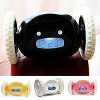 Wholesale Run alarm clock Digital LCD Running Creative Alarm Clock Runaway Clock with Moving Wheels Gift