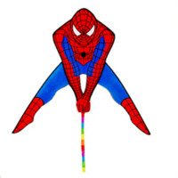 Wholesale high quality spiderman kite with handle line outdoor flying toys kites for sale power kite nylon flying dragon