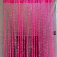 Wholesale Sheer Curtains Tassels - Wholesale-New Romantic Tassel String Curtain Window Door Divider Sheer Curtains Valance rod pocket Vestibule Wall line curtain Decor Y3