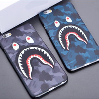 Wholesale 3D cartoon phone case cases for iphone7 iphone S plus S hard PC defender case camouflage shark protector case GSZ165