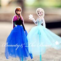 Venta al por mayor-7,2 '' Princesa Snow Reina Anna Elsa Cupcake Toppers Tutú Partido Suministros Decoración de las fiestas de cumpleaños Niños de la ducha de bebé 4pcs