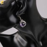 Wholesale CSJA Trendy Women Charm Earring China Wrap Dragon Ball Round Clear Crystal Reiki Gem Stone Bead Pendant Retail Female Jewelry E090