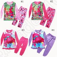 Wholesale Trolls Kids Cartoon Pajamas Sleepwear Suits Poppy Princess Long Sleeve Tshirts Pants Sleeping Clothing Sets set OOA1078