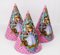 Wholesale Sofia Girl kids Paper Hats Caps with strings children party Supplies Favor Cartoon character