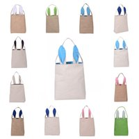 Fabric bedding compression pack - 8rj Practical DIY Embroider Cotton Linen Basket Bag Easter Bunny Ear Bags For Children Gift Packing Handbags Foldable Storage Pouch Popular