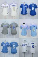 Maillot femme # 6 Lorenzo Cain Maillot gris bleu pour femme Lady Baseball Kansas City Royals # 4 Alex Gordon Jersey