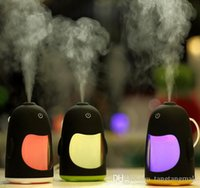 Wholesale Cute Penguins Humidifier with Colorful LED light Aromatherapy Ultrasonic Air Purifier Night Light for Office Home Car Oil Aroma Spa diffuser