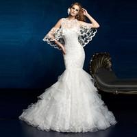 achat en gros de sirène robe à volants bolero-Robe de mariée en dentelle d'ivoire d'élégance de la nouvelle vogue 2017 avec la veste de boléro de châle Ruffled robe de mariage KW10