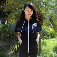 Wholesale Anime Fairy Tail Cosplay Men Women Unisex Short Sleeve Hoodie Sweatshirt Fashion Hooded Zipper Sweat Shirts Coat Jacket Tops