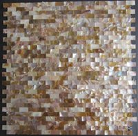 Wholesale Brick Brown Groutless Mother of Pearl Shell Mosaic Tiles for Bathroom or Kitchen Wall Tiling