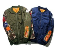animal flights - 2017 Autumn winter Shark mouth Jackets air force flight suit printing ture brand coat sweatshirts top mens designer clothes plus size XL