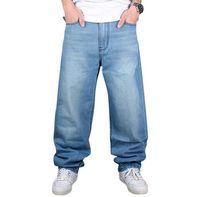 big mens pants elastic waist - 2017 Brand Men Baggy Jeans Big Size Mens Hip Hop Jeans Long Loose Fashion Skateboard Relaxed Fit Jeans Mens Harem Pants