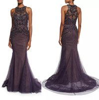 aubergine fashion - sleeveless mermaid evening gown Jewel neckline aubergine crystal beaded tulle and lace evening formal dresses