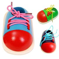 Wholesale 1pc Cute Kids Montessori Educational Toys Children DIY Wooden Toys Toddler Lacing Shoes Early Education Montessori Xmas Gift