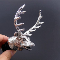 Wholesale 3D Stereoscopic Deer Head Red Wine Bottle Cover Corks Pour Spout Stopper Barware Pouring Tool Bar Christmas Party Supplies