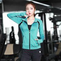 Wholesale Fashion Slim Zipper Sport Coat Long Sleeve Sport Clothing Stitching Quick Drying Fitness Clothes Yoga Running T Shirt C07