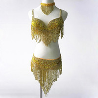 Belly Dancing bellydance bra - 2017 Women Bellydance Clothes Eastern Style Beaded Top and Belt Set Costumes for Belly Dance Bra Costume with Necklace