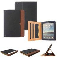 IPad6 Black Tan Portefeuille en cuir Porte Flip Case Smart Cover Avec des emplacements pour iPad Air 2 3 4 5 6 Pro 9.7 Air2 Mini Mini4 Livraison gratuite