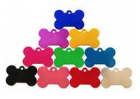 al por mayor bricolaje mascota-Etiquetas de la identificación del perro de DIY Etiquetas engomadas de los lados del doble 100pcs / lot de los huesos de aluminio de calidad superior 3,8 * 2.5 * 0.1cm 10 colores