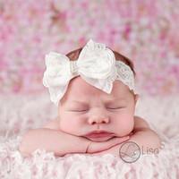 Precio de Bandas para la cabeza de encaje blanco para bebés-El pelo impreso floral de las cintas recién nacidas del arco de las vendas del cordón del bebé arquea los accesorios blancos puros infantiles del pelo de los cabritos de los pañuelos del Bowknot DHL libera DHL
