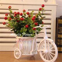 artificial wood flooring - set Fruit vase Rattan bicycle with artificial fruit tree table decoration wood fence Green plant flower set