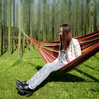 Wholesale Portable Hammock Hang bed Nylon Fabric material for Outdoor Garden Travel Camping using Swing Canvas Stripe