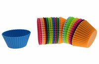Wholesale Silicone Baking Muffin Cup Cupcake Liners Molds dessert plate cake pop maker Environmental protection