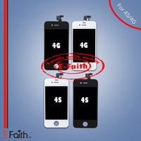 Vente en gros-Pour iPhone 4 4S assemblage avant écran LCD écran tactile numériseur pièce de rechange Livraison gratuite DHL