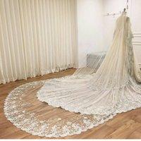 best edge trimmer - Newest Muslim Best Selling Bridal Veils Chapel Length Soft Tulle Appliques Lace Trim Edge Wedding Veil For Bride Custom Made