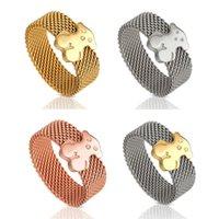 bee veil - New Stainless Steel Lovely Net Teddy Bear Bears Rings Ring Colors Golden Black Rose Gold Girl Boy bee veil rings Jewelry Rings