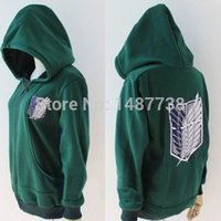 Wholesale New Anime Attack on Titan Cosplay Costumes Hoodie Green Black Scouting Legion Hooded Sweater for Unisex