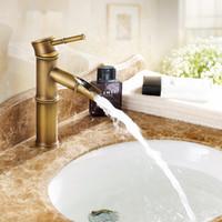 Wholesale European antique copper retro bamboo lever basin mixer taps Art Basin Above hot and cold faucet