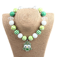 baby limes - Baby Girl St Patrick s Day Necklace Toddler Lime Green beads with cartoon Owl Clover Pendant Kids Party Bubblegum jewelry