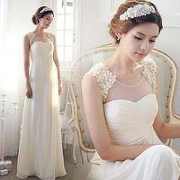 banquet dress attire - White Flower Bride Bridesmaid Wedding formal attire Halter The long dress of the host of the banquet