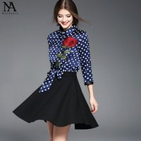 New Arrival 2017 Femmes Peter Pan Collier 3/4 Manches Broderie Roses Dots Printed Patchwork Bow Décoration Fashion High Street Dresses