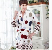 Wholesale Autumn and winter men s robe flannel bathrobe thick long sleeved Coral Fleece Pajamas leopard special offer new fashion WD099