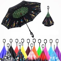 Wholesale New Creative Windproof Reverse Folding Double Layer Straight Umbrella Self Stand Inside Out Rain Protection C Hook Hands For Car