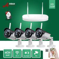 al por mayor sistemas de seguridad cctv de wifi-Kits de cámaras inalámbricas ANRAN P2P al aire libre IR 720P red WIFI IP cámaras 4 canales HDMI NVR inalámbrico con 1TB HDD sistema de CCTV de seguridad casera