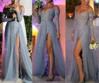 Wholesale Fashion Off Shoulder Sexy Evening Dresses Long Sleeve Sheer Grey Sequins Lace High Split Long Party Prom Dress Pageant robe de soiree