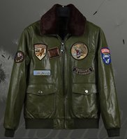Wholesale Led Leather Jacket - Winter Europe and the United States Air Force pilots Mao lead the green PU leather men 's medal decoration jacket jacket tide card