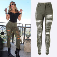 Wholesale Fashion Army Green Black White Sexy Ripped Jeans Women Plus Size Distressed High Waist Jeans Ladies Skinny Jean Taille Haute
