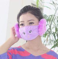 Wholesale Autumn and winter day cartoon children cotton dust masks in warm earmuffs