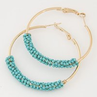 Blue alphabet plastic - Bohemian Beads Hoop Earrings for Women Jewelry Fashion Gold Color Round Brincos Boucle d oreille New Big Orecchini Bijoux