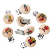 Wholesale x5PCs Mixed Baby Pacifier Clips Holder Clasps Soother Animal Printed Natural Color Wood Metal Holders