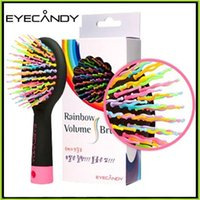 Wholesale 2016 Eyecandy Rainbow Volume Brush Comb Eye candy Comb Hair Brush Comb S waved with mirror Free DHL shipping