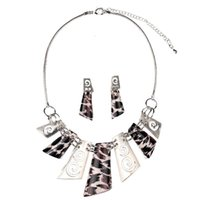 banquet plate - Geometric Leopard resin necklace earrings sets Europe and the United States bridal banquet clothing accessories quality assurance