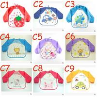 baby bib smock - Cute Cartoon Colorful Baby Bibs Long Sleeve Art Apron Animal Smock Children Bib Burp Clothes Soft Feeding Eat Toddle Waterproof TOP1542